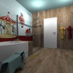children-bathroom-wallpaper+wooden-floor