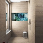 shower-'wooden'-tile-+-wallpaper